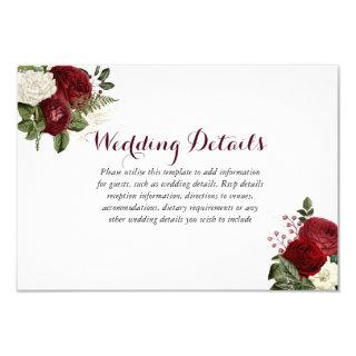 Romantic Burgundy Red White Floral Wedding Details Invitations