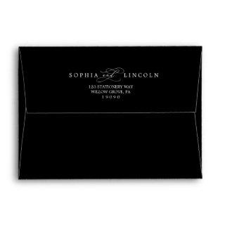 Romantic Calligraphy Black Wedding Invitation Envelope