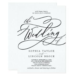 Romantic Calligraphy | Flourish All In One Wedding Invitations