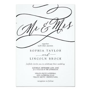 Romantic Calligraphy | Flourish Mr & Mrs Wedding Invitations