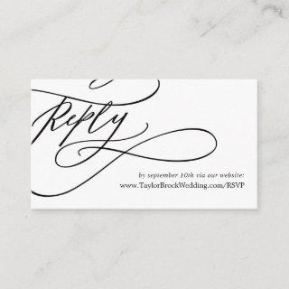 Romantic Calligraphy Flourish Wedding Website RSVP Enclosure Card