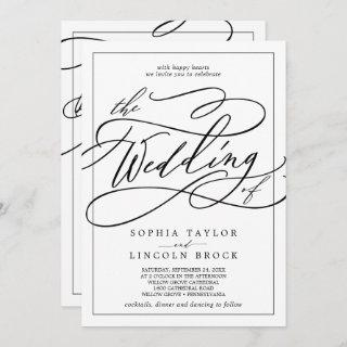 Romantic Calligraphy | Frame All In One Wedding Invitations