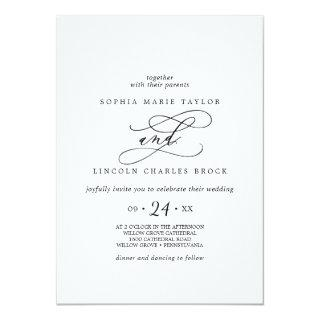 Romantic Calligraphy | Full Names Flourish Wedding Invitations