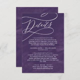Romantic Calligraphy Purple Watercolor Details Enclosure Card