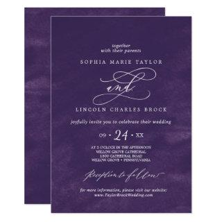 Romantic Calligraphy | Purple Watercolor Wedding Invitation