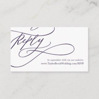 Romantic Calligraphy | Purple Wedding Website RSVP Enclosure Card