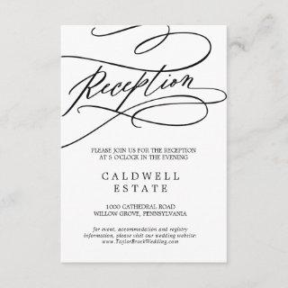 Romantic Calligraphy Wedding Reception Insert Card