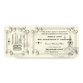 Romantic Chapel Country Road Ticket Wedding Invitation