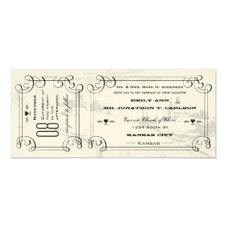 Romantic Chapel Country Road Ticket Wedding Invitations