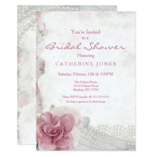 Romantic Chic Pink Rose Bridal Shower Invitations