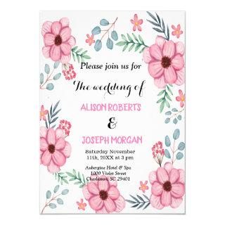 Romantic chic Pink Watercolor Flowers wedding Invitation