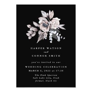 Romantic Elegant Watercolor Black Floral Wedding Invitation