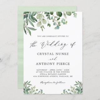 Romantic Eucalyptus Themed Garden Wedding Invitation