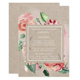 Romantic Floral Bouquet Recycled Paper Wedding Invitation
