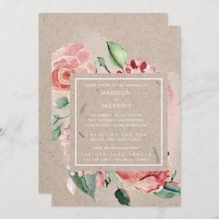 Romantic Floral Bouquet Recycled Paper Wedding Invitations