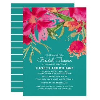 Romantic Floral Design Bridal Shower Invitations