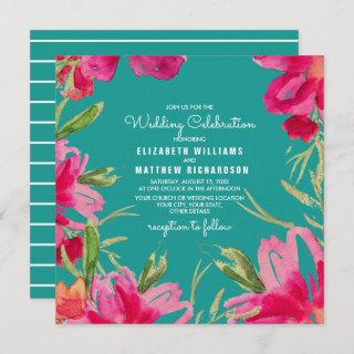 Romantic Floral Design Custom Wedding Invitations