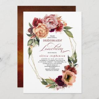 Romantic Floral Earthy Fall Bridesmaids Luncheon Invitations