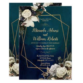 Romantic Floral Gold Wreath Wedding Invitations