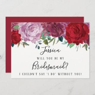 Romantic Floral Will You Be My Bridesmaid? Invitation