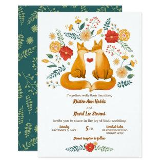 Romantic Foxes and Rustic Floral Foliage Wedding Invitation