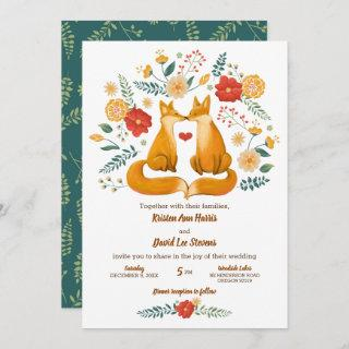 Romantic Foxes and Rustic Floral Foliage Wedding Invitations