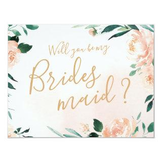 Romantic garden floral Will you be my bridesmaid Invitations