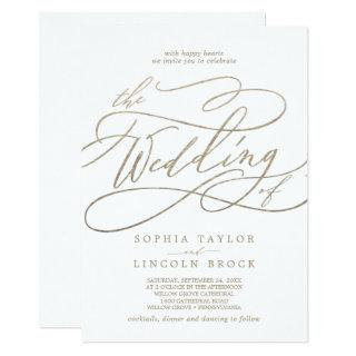 Romantic Gold Calligraphy All In One Wedding Invitations