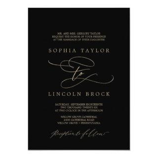 Romantic Gold Calligraphy | Black Formal Wedding Invitations