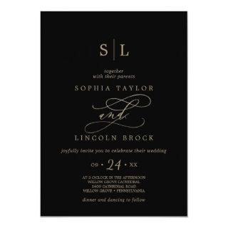 Romantic Gold Calligraphy | Black Monogram Wedding Invitation