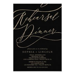 Romantic Gold Calligraphy | Black Rehearsal Dinner Invitations