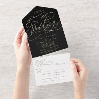 Romantic Gold Calligraphy | Black The Wedding Of A All In One