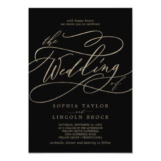 Romantic Gold Calligraphy | Black The Wedding Of Invitation