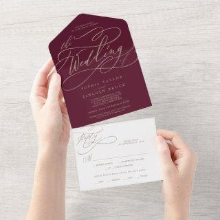Romantic Gold Calligraphy Burgundy The Wedding Of  All In One