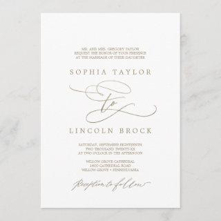 Romantic Gold Calligraphy Flourish Formal Wedding Invitations