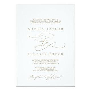 Romantic Gold Calligraphy Flourish Formal Wedding Invitation