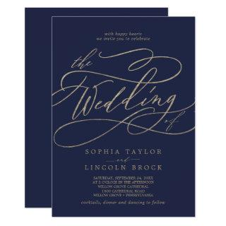 Romantic Gold Calligraphy Navy All In One Wedding Invitations