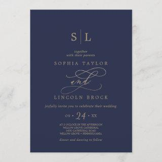 Romantic Gold Calligraphy | Navy Monogram Wedding Invitation