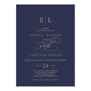 Romantic Gold Calligraphy | Navy Monogram Wedding Invitations