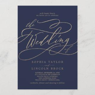 Romantic Gold Calligraphy | Navy The Wedding Of Invitations