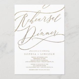 Romantic Gold Calligraphy Rehearsal Dinner Invitation