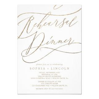 Romantic Gold Calligraphy Rehearsal Dinner Invitations