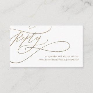 Romantic Gold Calligraphy Wedding Website RSVP Enclosure Card