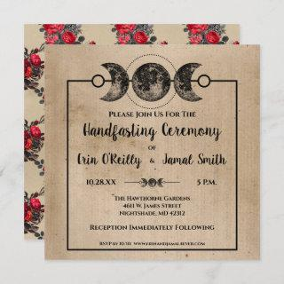 Romantic Gothic Handfasting Wedding Pagan Wicca Invitation
