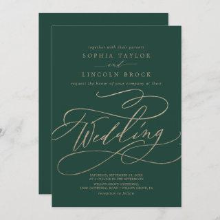 Romantic Green Calligraphy Details on Back Wedding