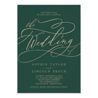 Romantic Green Calligraphy Flourish The Wedding Of Invitation