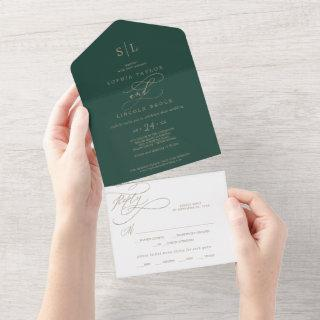 Romantic Green Calligraphy Monogram Wedding All In All In One