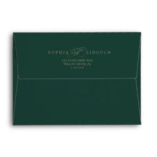 Romantic Green Calligraphy Wedding Invitations Envelope
