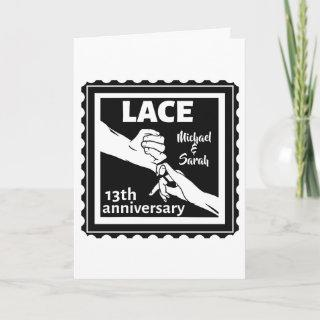 Romantic holding hands 13th wedding anniversary card