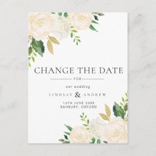 Romantic Ivory Roses Wedding Change the Date Announcement Postcard